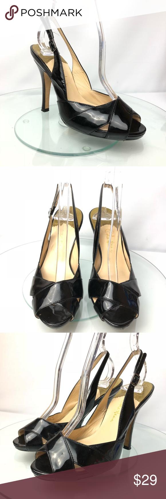 "b44b651aeeef Cole Haan Black Patent Leather Peep Toe Heels Sz 5 Cole Haan Black Patent  Leather Peep Toe Slingback Pumps Heels Women s Size 5 Heel height  4"" Cole  Haan ..."