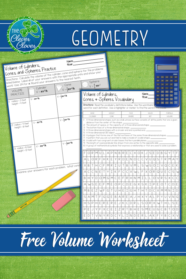 Volume of Cylinders, Cones and Spheres Worksheets | TPT Free