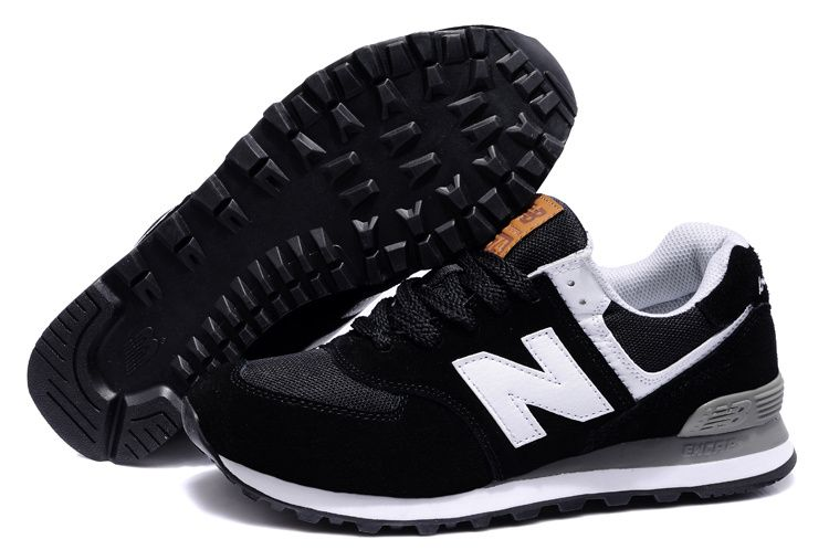New Balance 574 Womens Shoes in BLACK with White Logo.jpg (750�498