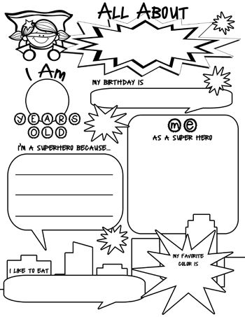 Free All About Me Activity with a Superhero Theme