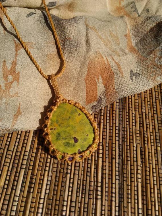 Serpentine and Stitchtite Amulet - handcrafted kundalini awakening necklace - Gemini crystal pendant #excelwordaccessetc