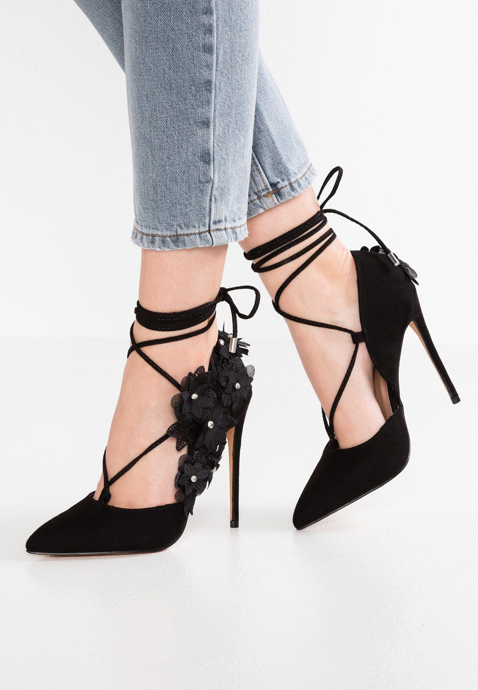Lost InkGAIL FLORAL SIDE COURT - High heels - black 26FAYjqaVj