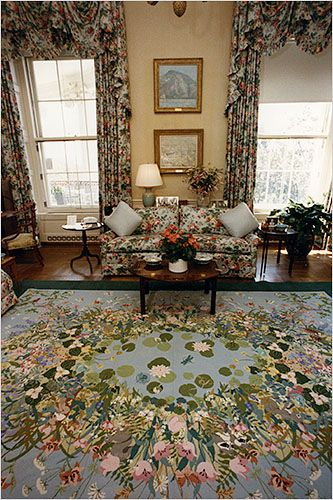 A needlepoint rug Barbara Bush stitched in the '70s found a home in her family's living room at the White House.  Change at the White House - The New York Times > Home & Garden > Slide Show > Slide 6 of 9