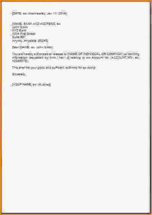 Authorization Letterthorization Letter For Bank Statement Format
