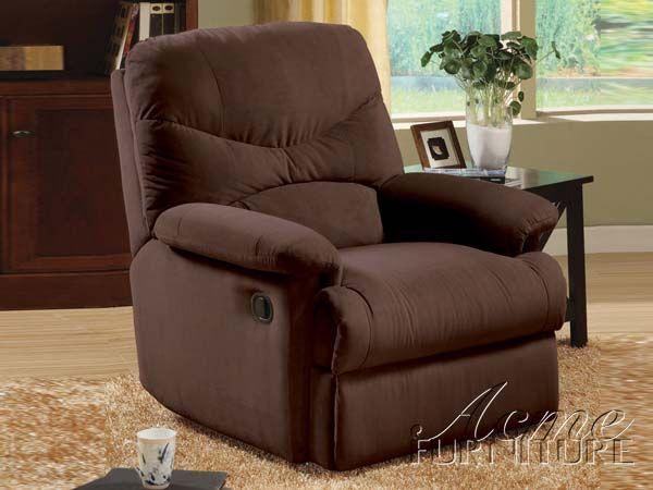Acme Furniture Arcadia Chocolate Microfiber Recliner   Brown