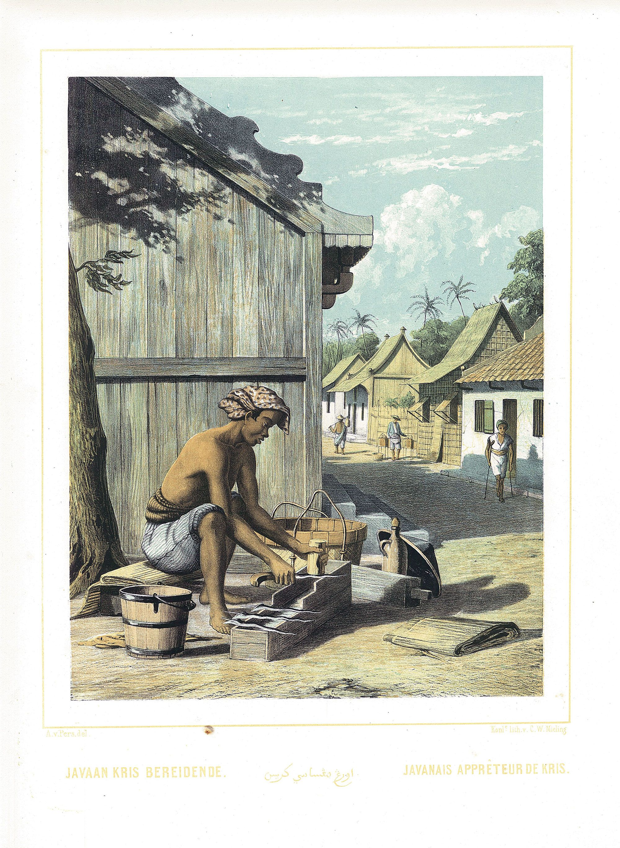 Javaan Kris Bereidende ( Van Pers 1853 ) Javaan Kris Bereidende / Javanais appreteur de Kris A rare and much sought after coloured lithograph print by Auguste van Pers (1815-71), from original drawings by the...