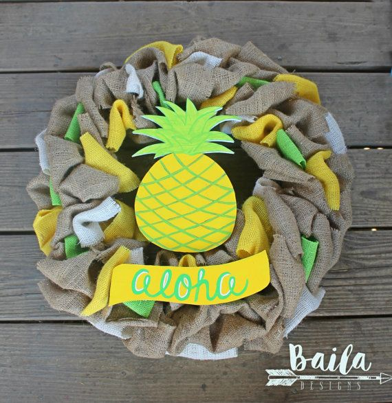 pineapple burlap wreath pineapple decor fun by BailaDesignsCo