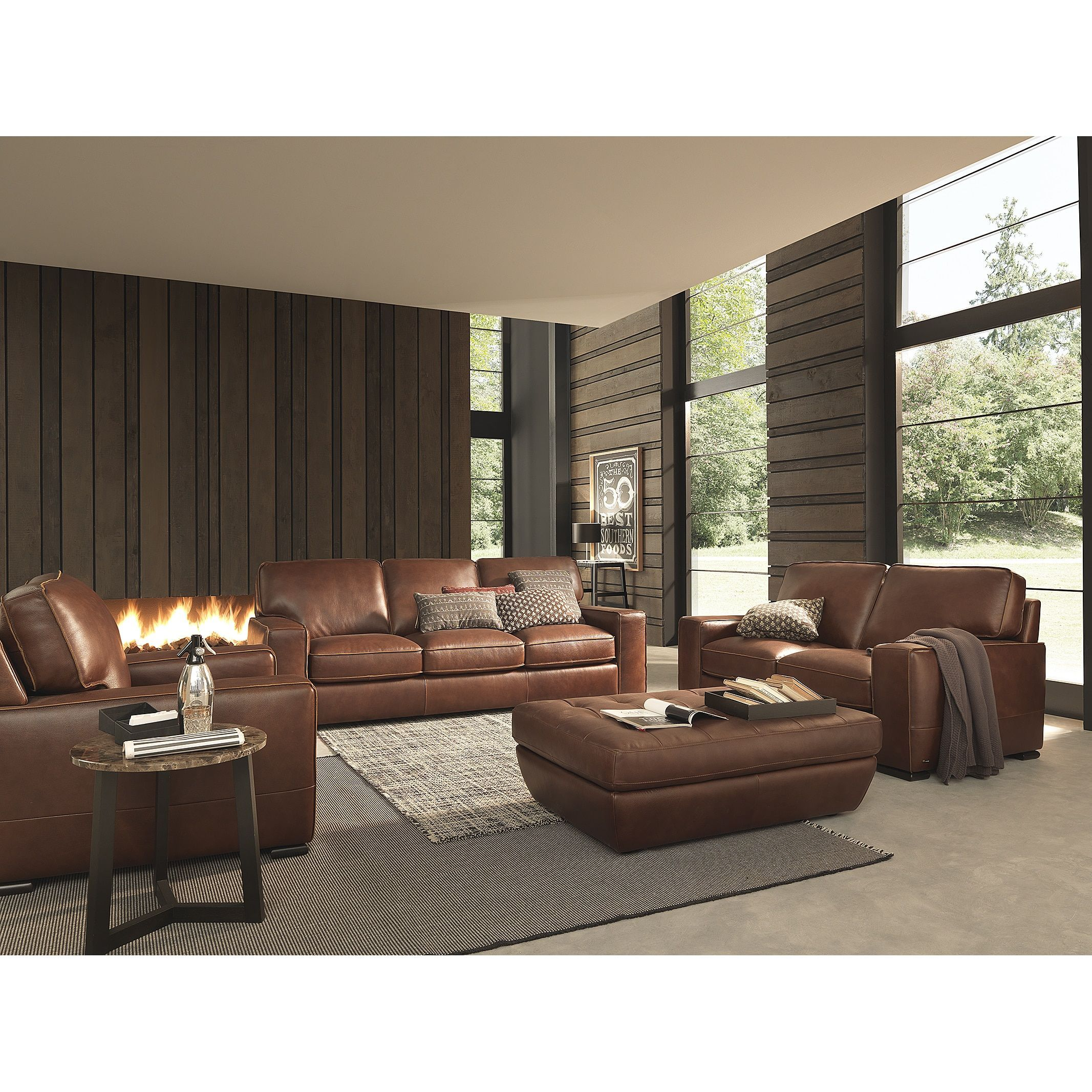 Natuzzi Breckenridge Chestnut Brown Leather Arm Chair Chestnut  # Muebles Violino