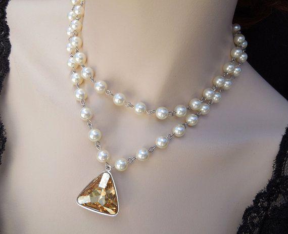 Déclaration mariée collier perles de Swarovski par DivineJewel, $90.00