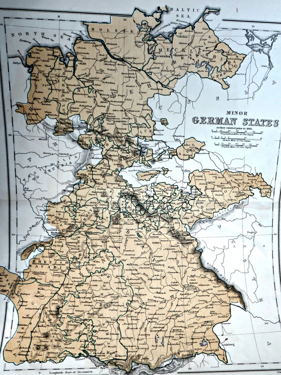Antique Map of Minor German States Before 1866 | Germany / German ...