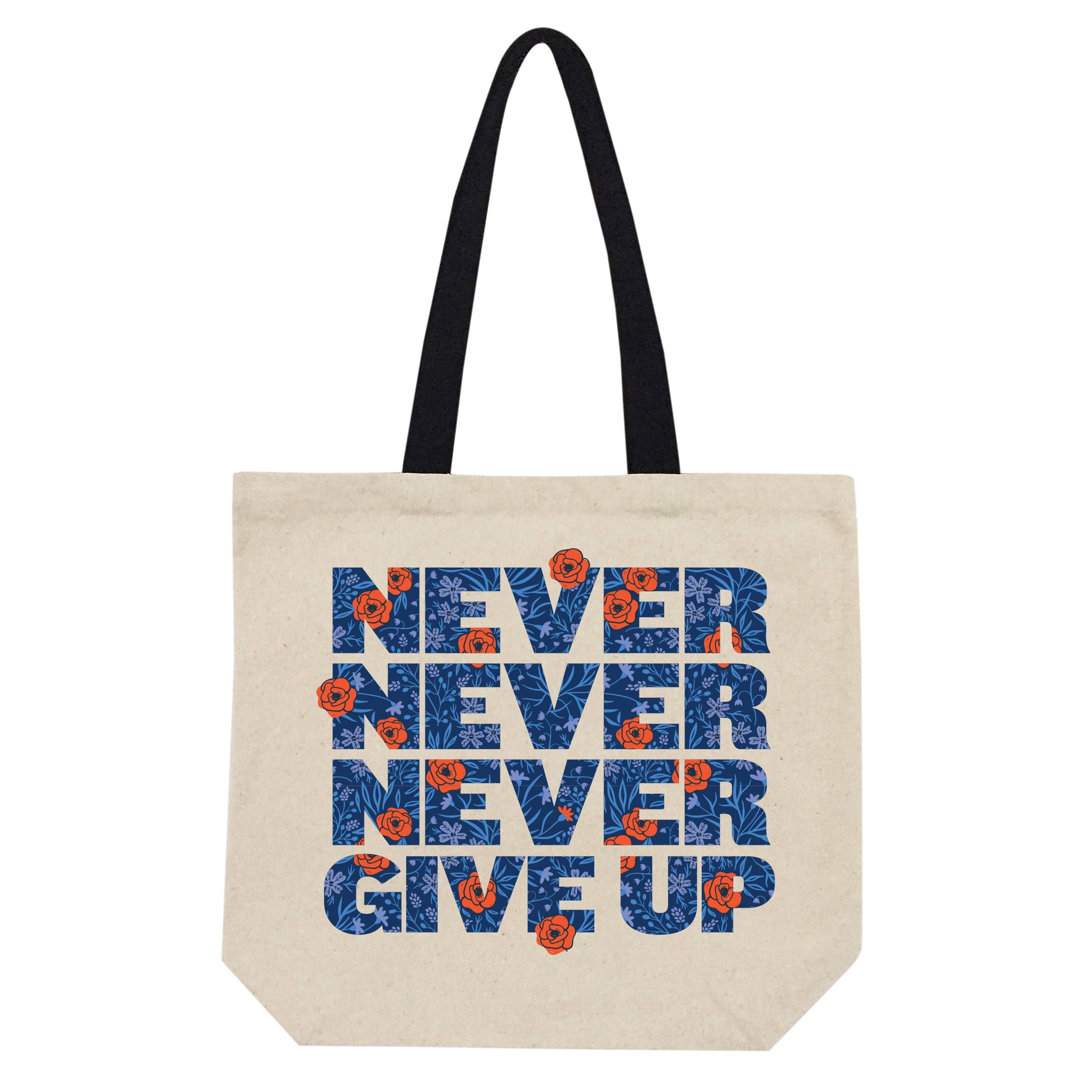Never, never, never give up... New design for hard days.  #etsy #sanvalentin #shoppingtotebag #bookstotebag #beachtotebag #positivequotebag