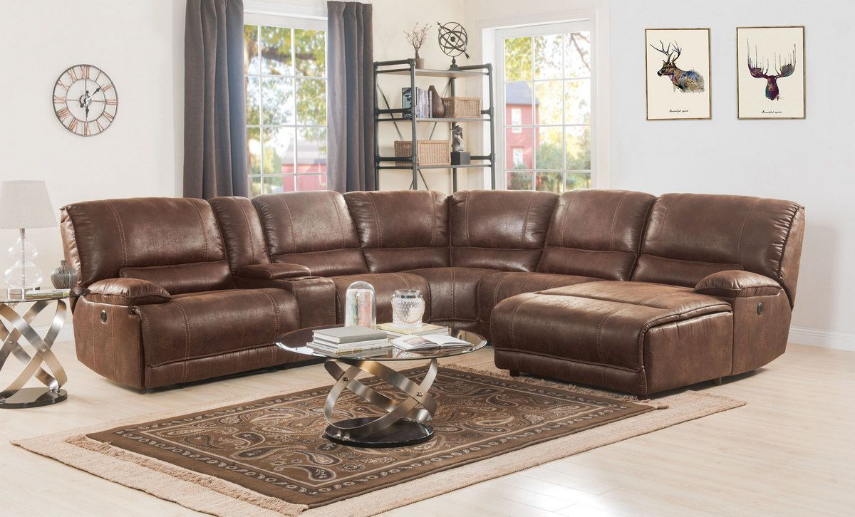 Hibiscus Sectional Sofa Power Motion In Brown Polished