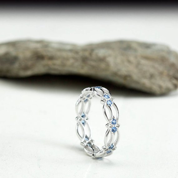 561f69a34a673 Blue topaz ring, celtic knot ring, celtic jewelry, gemstone ring ...