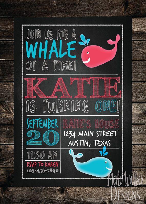 Chalkboard Whale Birthday Invitation by MerleWalkerDesigns on Etsy