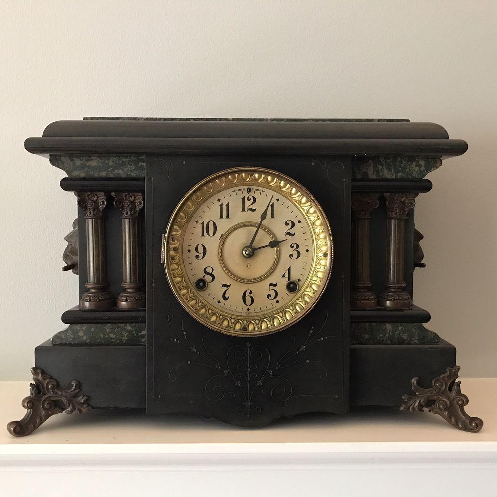 Antique Mantle Clock Seth Thomas Adamantine Clock Patented