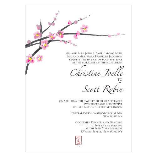 Love This Simple Beautiful Wedding Invitation The Cherry Blossom Gra Blossom Invitation Cherry Blossom Wedding Invitations Cherry Blossom Wedding Inspiration