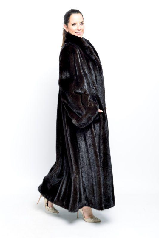 ORIGINAL BLACKGLAMA MINK FUR COAT - FULL LENGTH BLACK FEMALES - NERZ HOPKA VISON