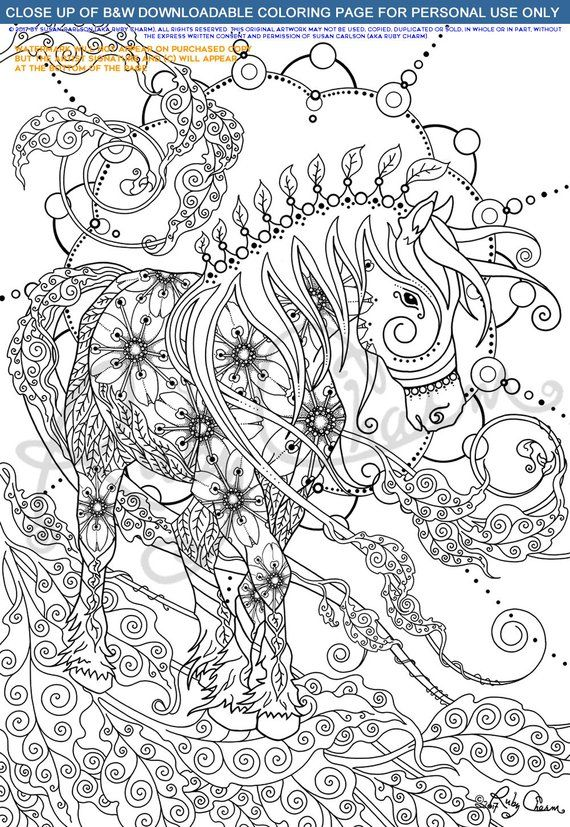 Coloring page: HORSE DIY download & print, Ruby Charm Artful