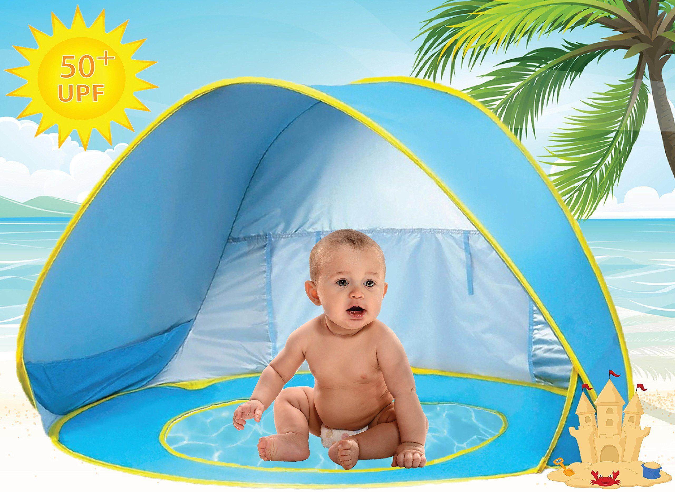 Baby Beach Tent Pool UV Protection Sun Shelter Pop Up for Kids - Blue Yellow. ? baby beach pool umbrella u0026 play tent for children under 3 years old.  sc 1 st  Pinterest & Baby Beach Tent Pool UV Protection Sun Shelter Pop Up for Kids ...