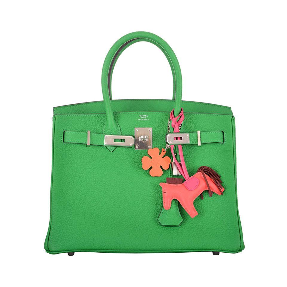 Bag · NEW GORGE COLOR HERMES BIRKIN BAG 30cm BAMBOU GREEN PALL HARDWARE 012fe3036e733