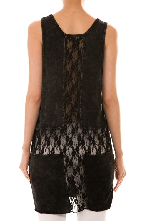 Lace Cross Back Tunic Tank