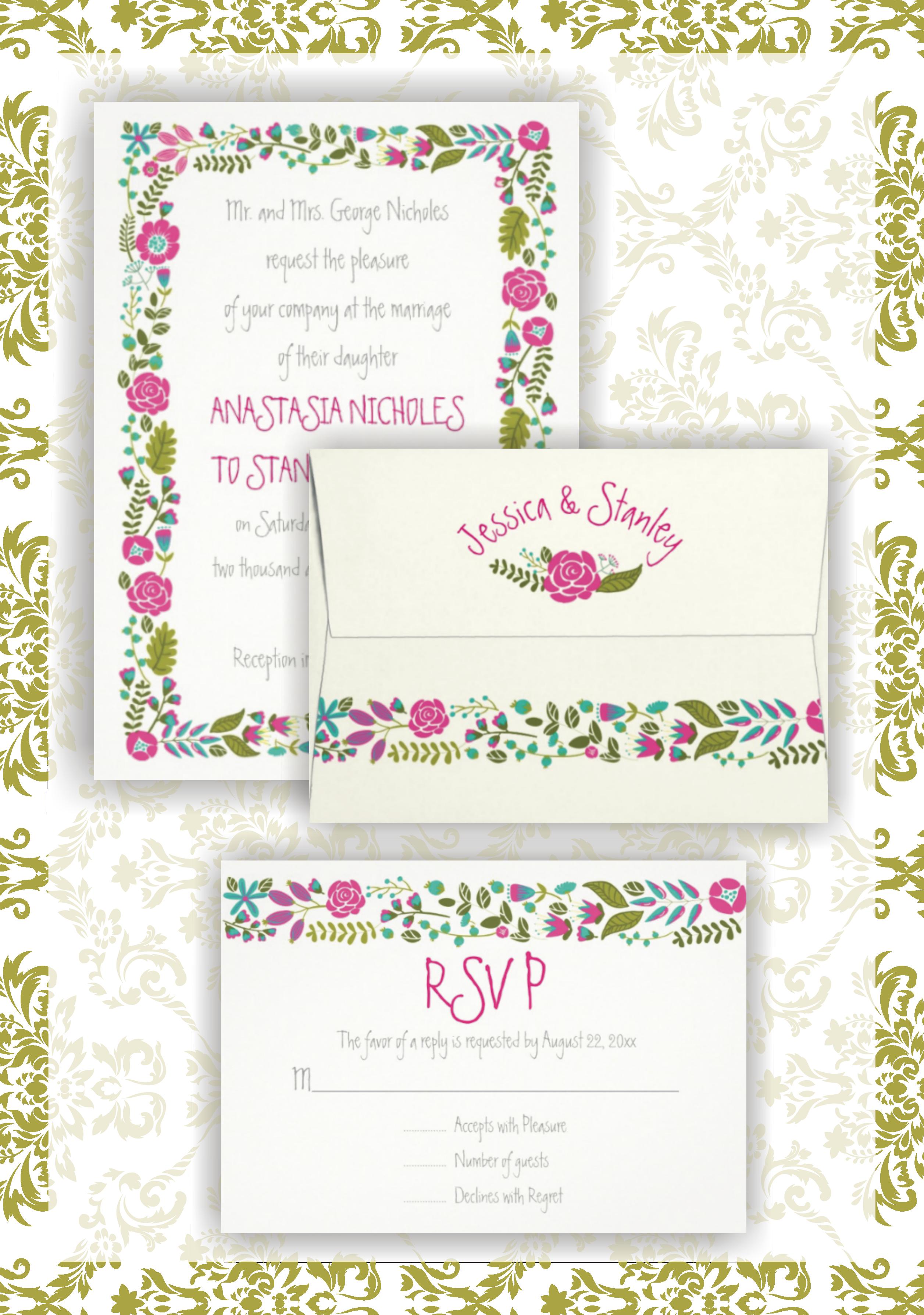 Vintage hot pink, aqua blue, teal floral border wedding invitations ...