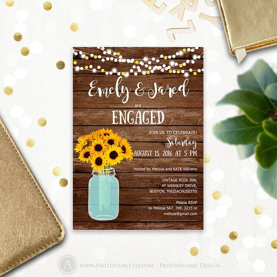 Engagement Party Invitation Printable Mason Jar Sunflowers Rustic