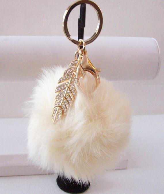 Key chain off white rabbit fur pom pom gold by DesignsbySuzanne1 151c7eedd