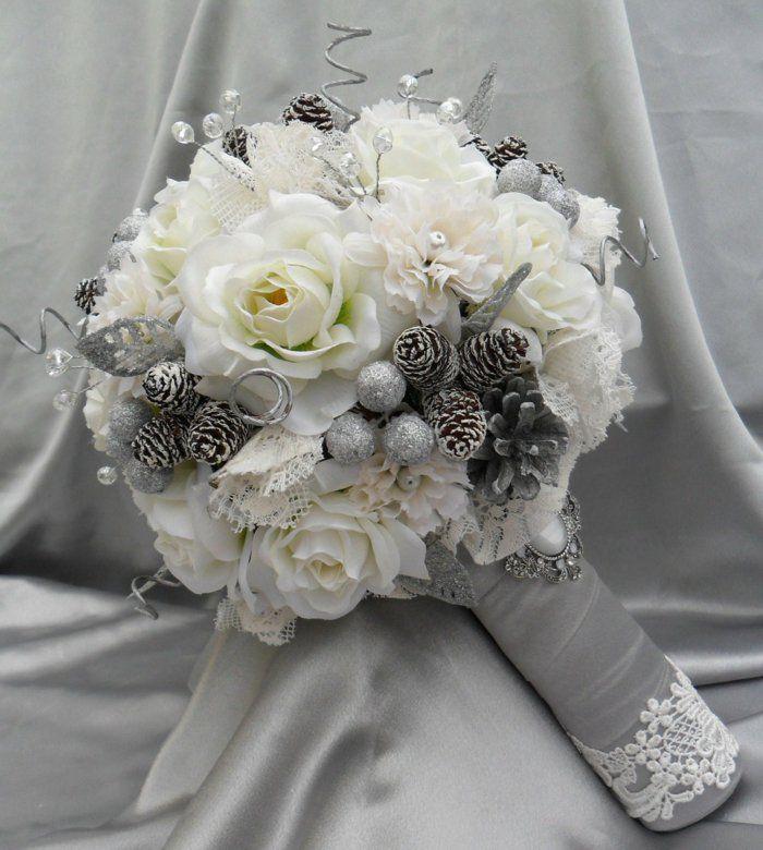 brautkleid weiße blumen rosen nelken silberne zapfen spitze | Gėlės ...