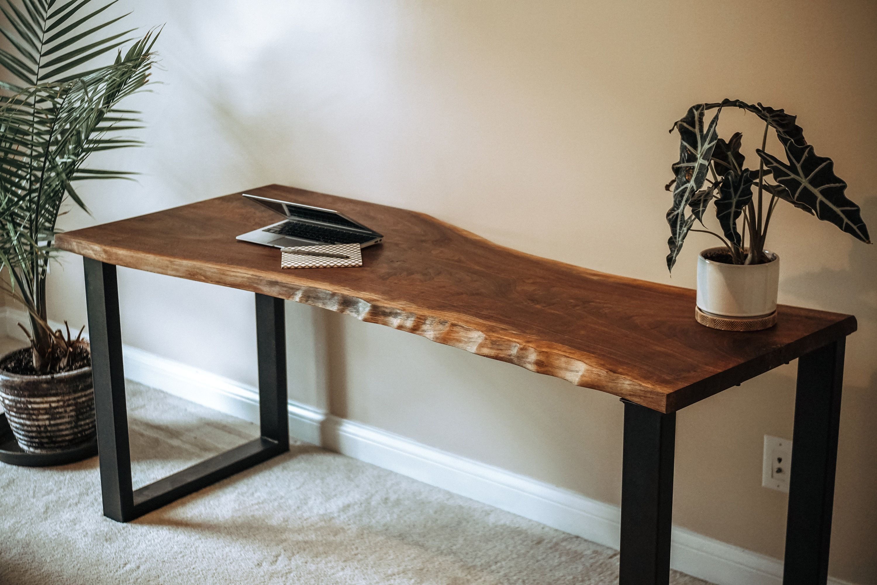 Live Edge Desk Handmade Black Walnut Etsy Live Edge Desk Wood Slab Table Slab Table