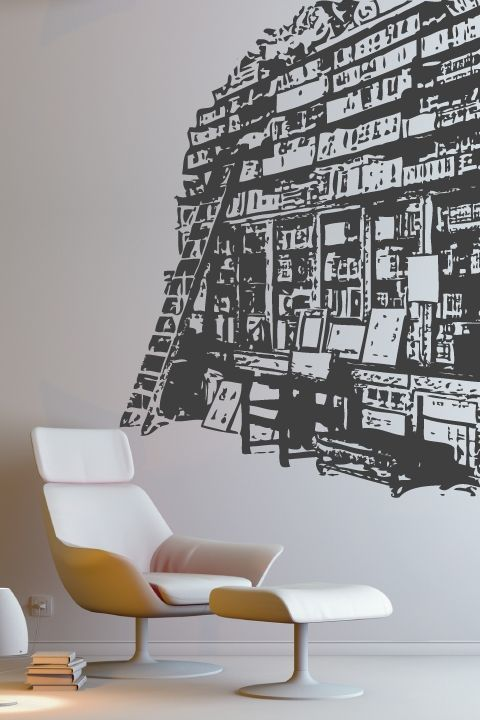 Wall decals book shelf walltat com art without boundaries