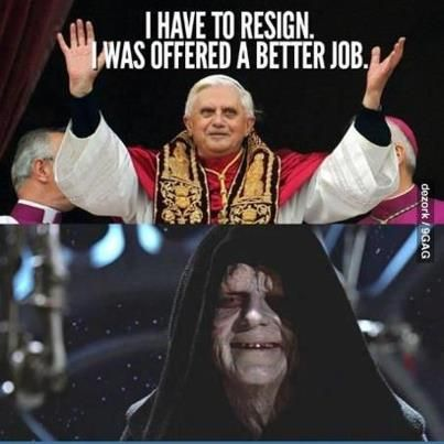 Image result for pope benedict and emperor palpatine