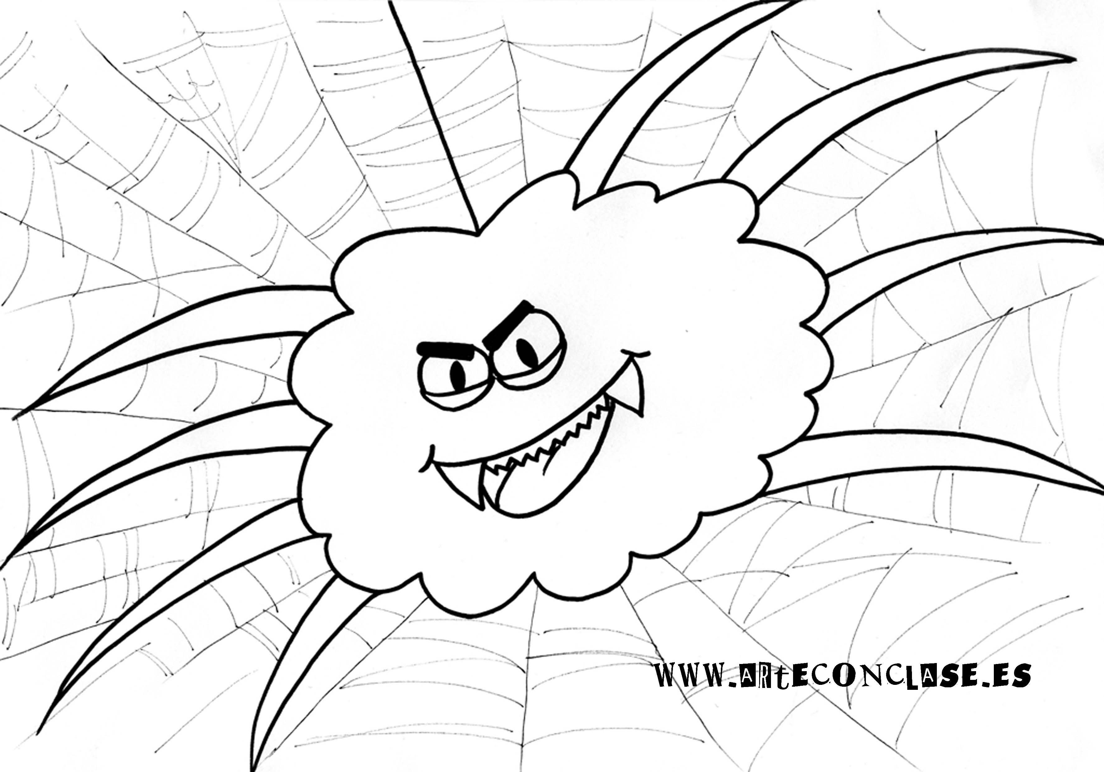 Arañas De Halloween Para Colorear: Dibujo De Una Araña Para Colorear En Halloween