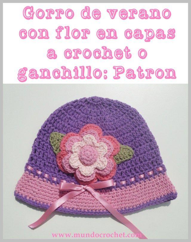 Gorro de verano con flor en capas para niña a crochet o ganchillo01 ...