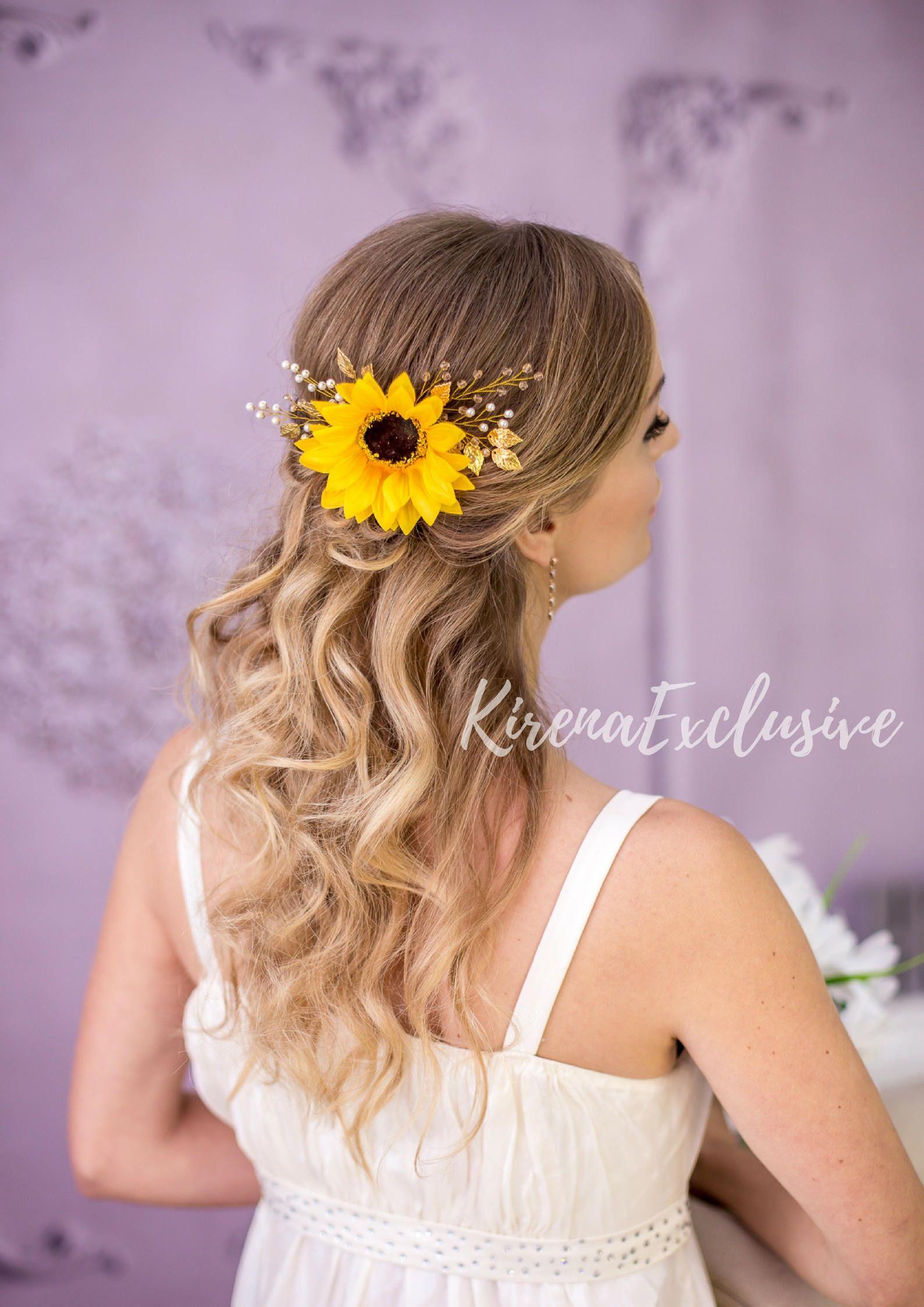 Sunflower hair piece for wedding woodland Sunflower hair clip | Etsy