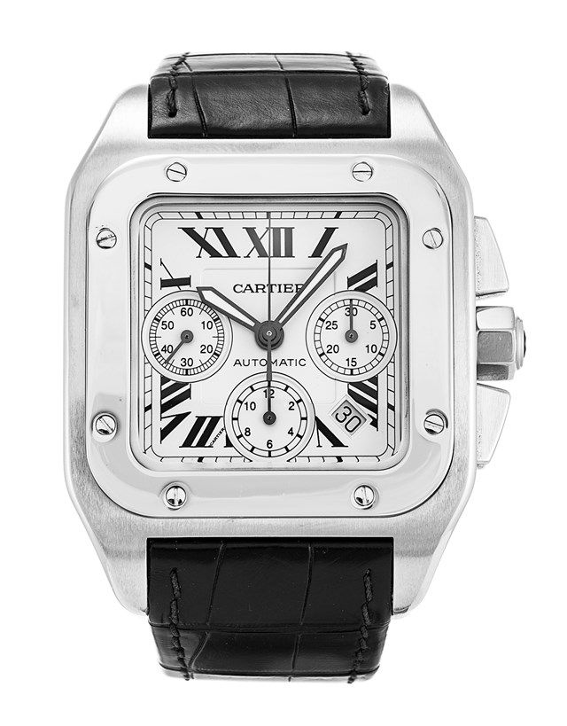 This is a pre-owned Cartier Santos 100 W20090X8. It has a 42mm Steel case 76bb331aa7