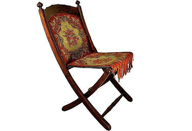 E W Vaill Victorian Carpet Upholstered Folding Chair On