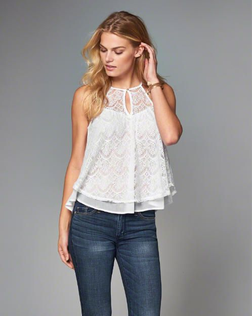 Lace High Neck Halter Top