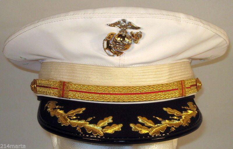 USMC US Marine Corps Male Field Grade Officer Dress Blues White Hat Cap  Cover 2e7f3de48c2d