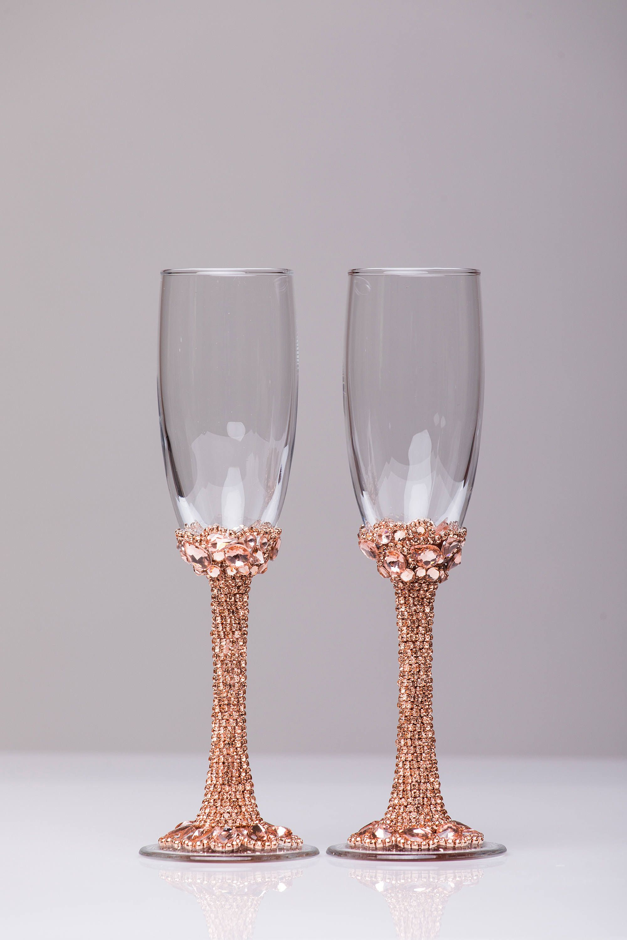 Personalized glasses rose gold Champagne flutes wedding toasting