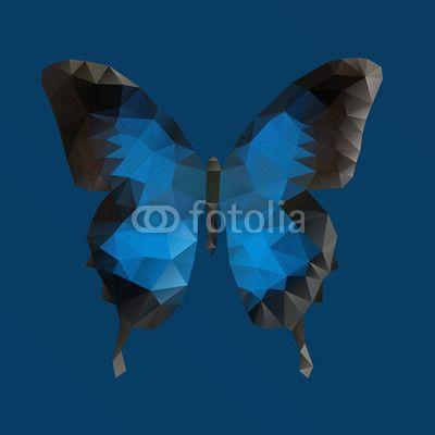 Vecteur : Dark blue vector butterfly in polygonal technique