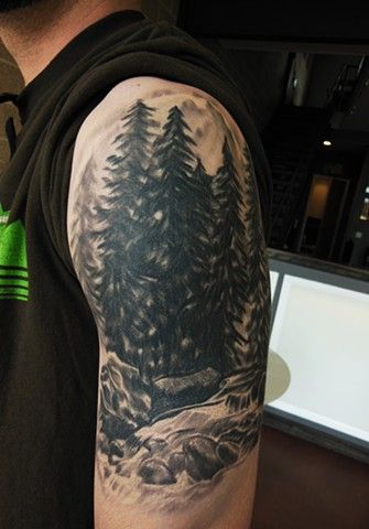 Pine Tree Forest Tattoo : forest, tattoo, Forest, Tattoo, Shoulder, Tattoo,, Evergreen