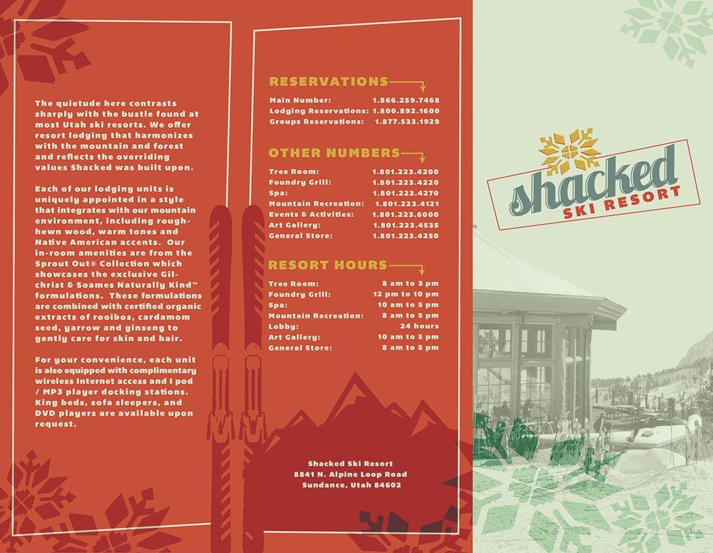 Shacked Ski Resort brochure design that was printed (outside - pamphlet sample