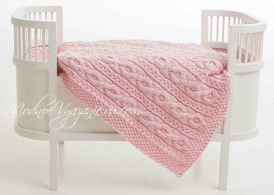 розовый вязаный плед для малыша модное вязание модное вязание