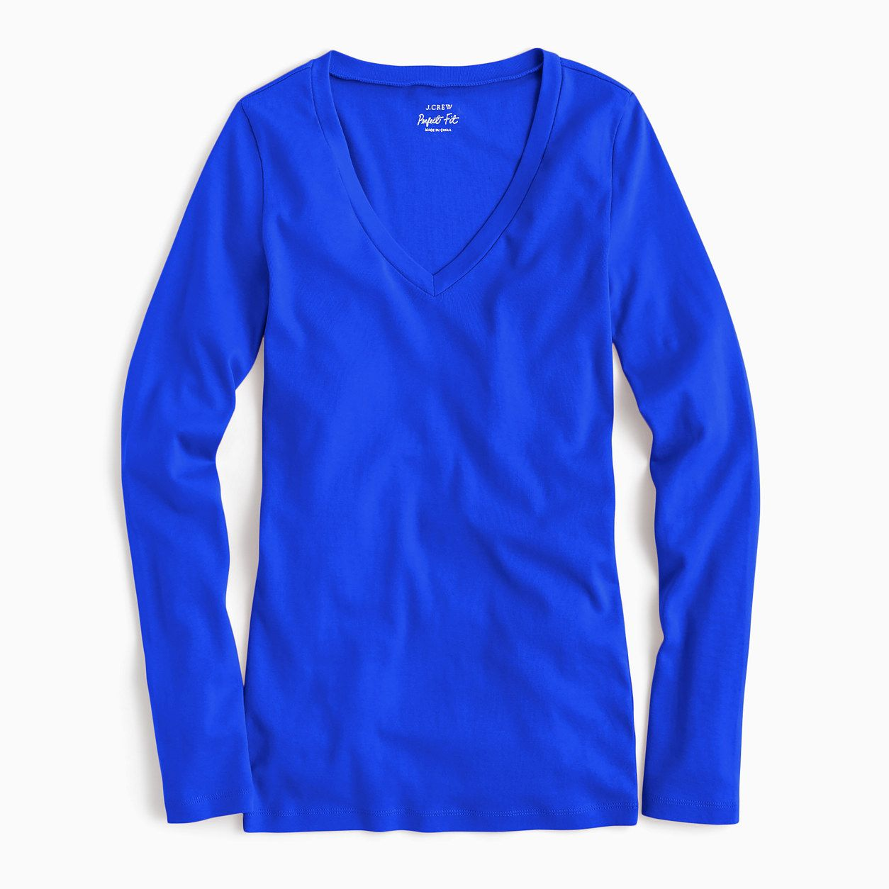 45414c0e6340 J.Crew Womens Perfect-Fit Long-Sleeve V-Neck T-Shirt (Size L) | Products