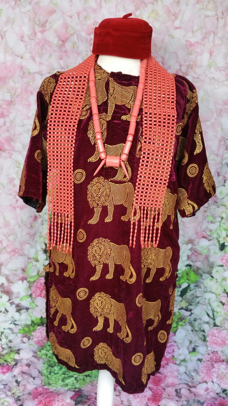 Wine And Gold Isi Agu Igboman Outfit Beaded Morfla Scarf