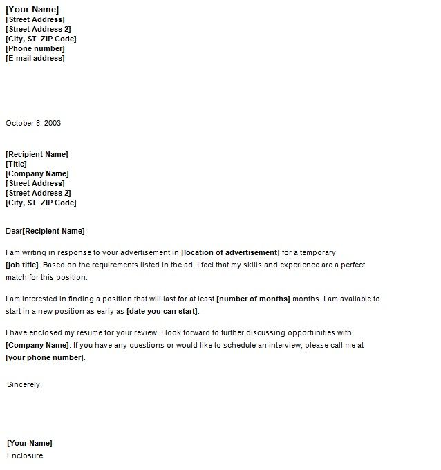 Job Cover Letter  Template Sample  Cover Letters