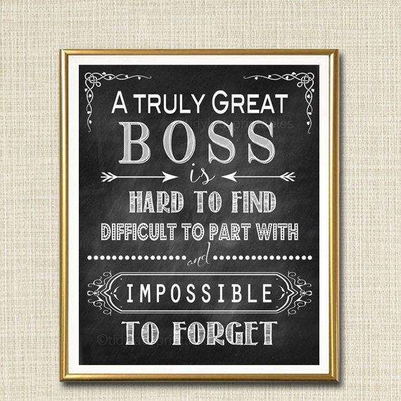 eebdc8b423c Boss Retirement Gift, Boss's Day Gift, Manager Supervisor Gift, A Truly  Great Boss Thank you Gift, Retirement Chalkboard Printable Wall Art