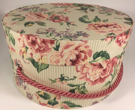 Decorative Round Boxes Floral Hat Box Ready To Ship Round Boxtheteaberrycottage