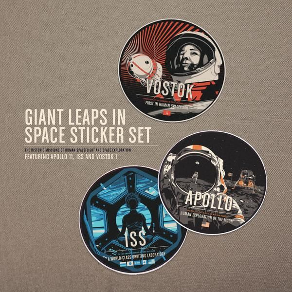 "The full suite of Giant Leaps stickers Apollo 11, International Space Station and Vostok 1. Stickers are 3x3"" on vinyl. Appropriate for indoor or outdoor use. G"